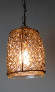 Hand Blown Glass Cottage Chic Honeycomb Pendant Chandelier, Vintage Style
