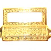 Victorian Solid Brass Bin Pull with Card Holder Antique Reproduction