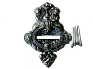 Large Heavy CAST BRASS DOOR KNOCKER Vintage Victorian Antique Bronze Finish