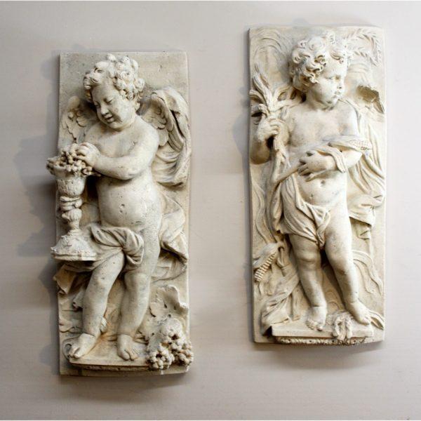 Wall Big Garden Cherub Plaques (pr) Angel Wings Roman Faux Stone