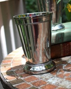 4.75″ Tall Silver Mint Julep Cup with Heavy Beaded Edge and Felt Bottom