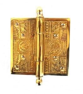 Victorian Motif Large 5″ Solid Brass Door Butt Hinge Restoration New Hardware