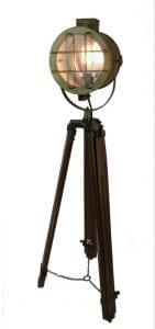 Tall Movie Tripod Light Post w Brass Finish Spot Floor Lamp Vintage Old Style