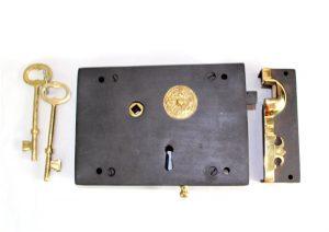 Wrought Iron Replica Right Hand Carpenters Rim Lock Old Restoration Hardware