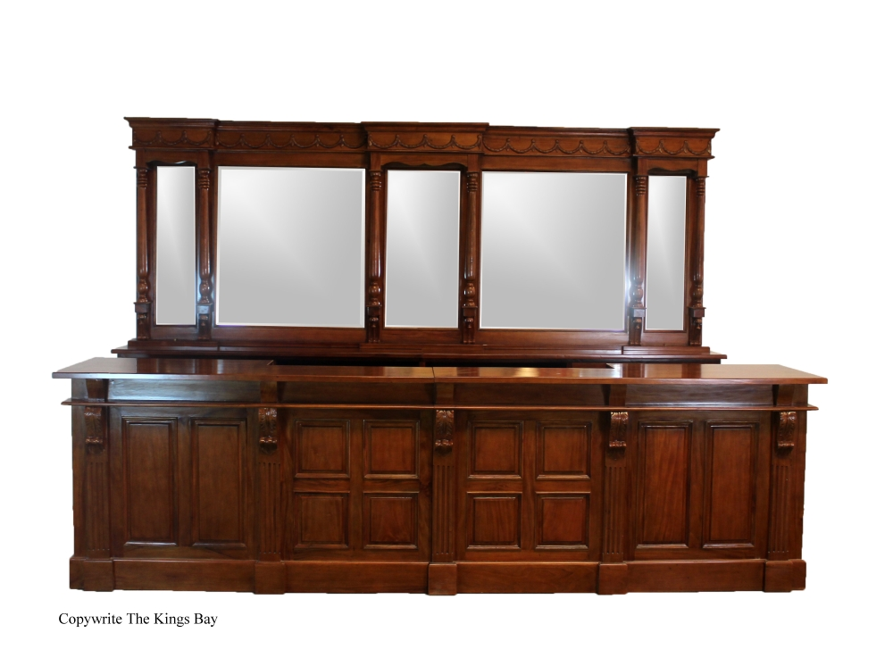 Victorian home bar in mahogany 12 ft w mirrors back front - Bar counter for home ...