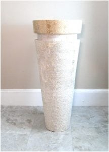 Contemporary Modern Marble Stone Cone Pedestal Sink, Danish, Swedish