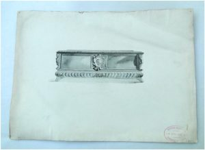 Italian Classic Sideboard Black and White WATERCOLOR Drawing, Architectural Furniture, ART