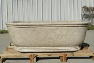 Solid Cream Beige Marble Bath Tub Hand Crafted in The Kings Bay Factory