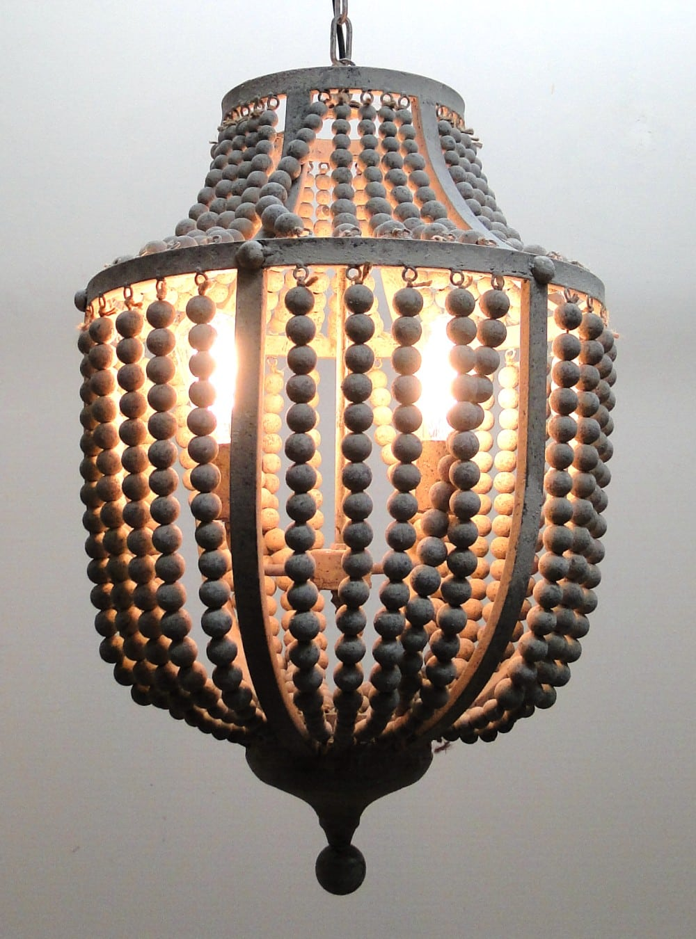 Gray Aged Iron and Wooden Bead Chandelier Hanging Light Fixture Wood ...