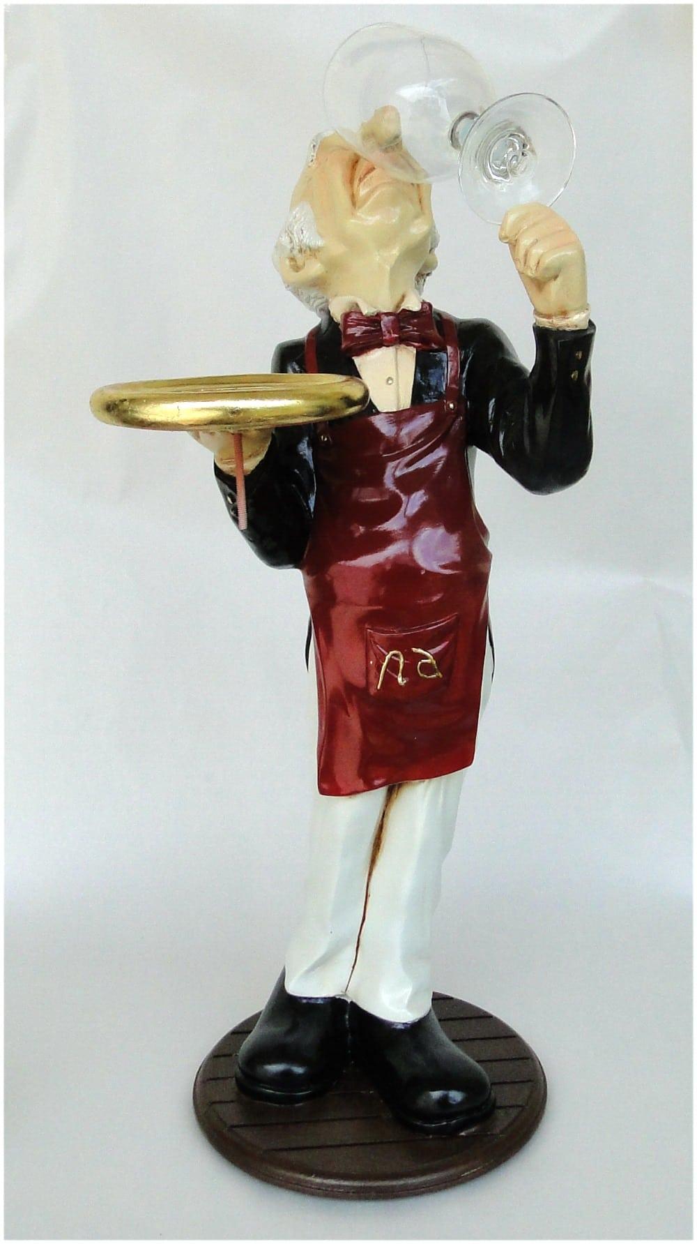 Snobby Butler Statue Wine Waiter Glass In Hand Tuxedo