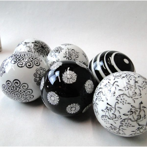 Set of 6 Black & White Balls Ceramic / Porcelain Classic Home Goods Decor