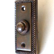 Door Bell Button Plate Rectangular with Rope Pattern DARK Solid Brass