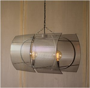 Double Pendant Light with Mesh Perforated Shade Modern Style Chandelier