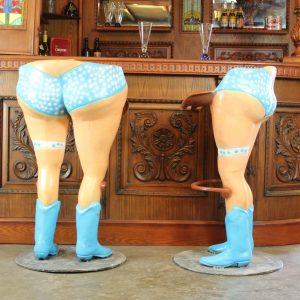 Bar Stools Girls with Polka Dot Bikini Blue Western Boots and Foot Rail Pair