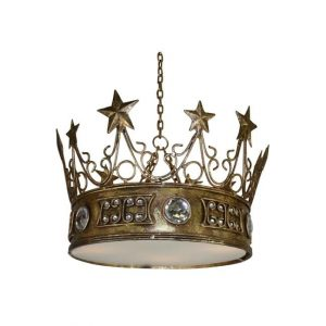 Gold Leaf Star Crown Chandelier with Clear Jewels Prince Princess King Queen