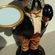 Boxing Boxer Dog Butler Statue Tuxedo Gold Tray 2′ Puppy Waiter Kitchen Bar Pub