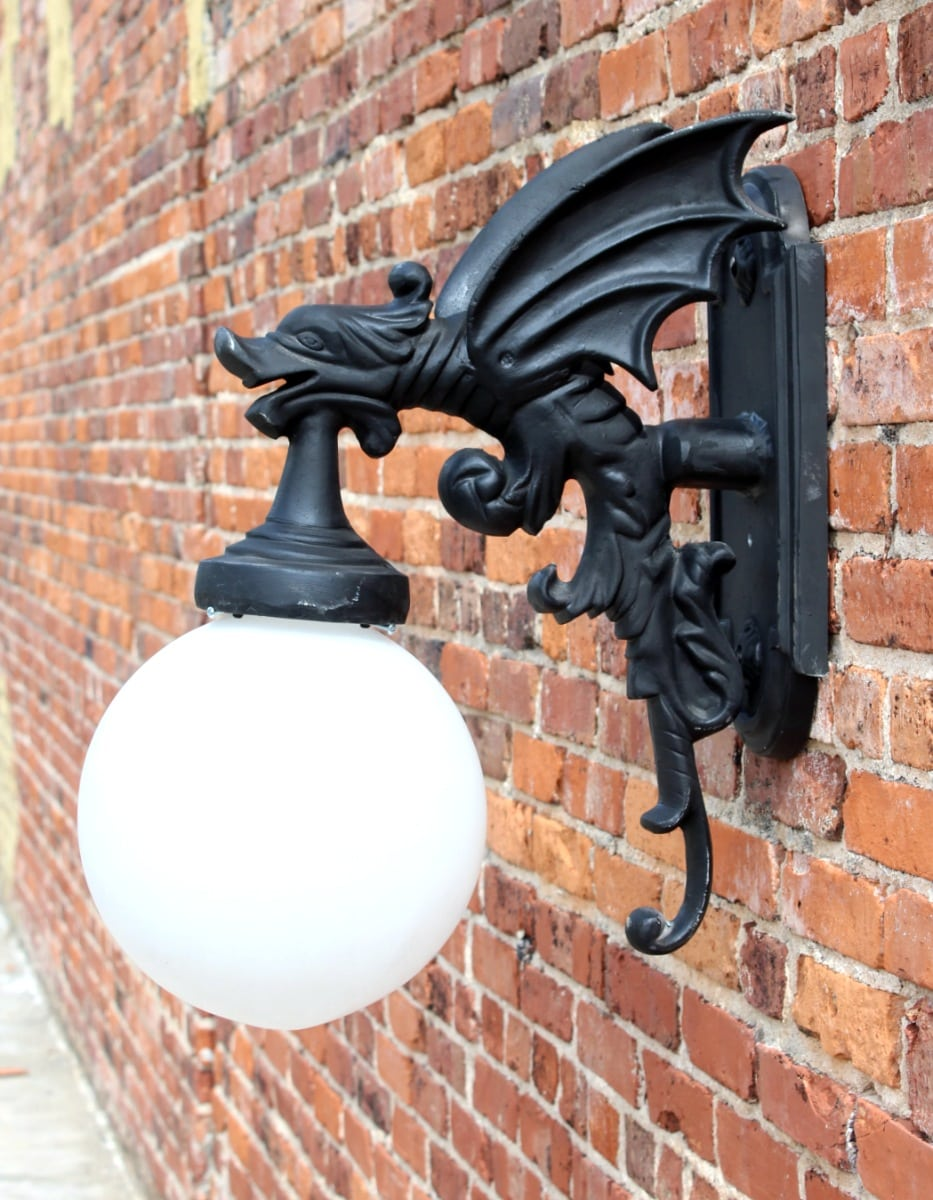 Gargoyle Dragon Wing Outdoor Sconce Wall Light Fixture