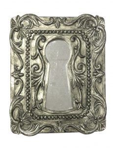 Aged Antique Finish Silver Keyhole Wall Mirror Accent Old Fashioned