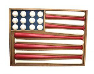 Wooden Flag Shaped Stars and Stripes Baseball Wall Art w Bats & Balls 3D