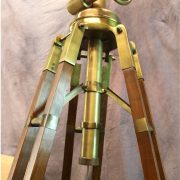 Huge Commercial Quality Antique Brass & Wood Tripod Floor Lamp w Canvas Shade