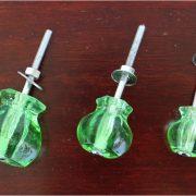 1″ GREEN Glass Cabinet Knobs Pulls Vintage Dresser Drawer Hardware