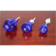 1″ Cobalt BLUE Glass Cabinet Knobs Pulls Vintage Dresser Drawer Hardware 10 pcs