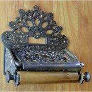 Bronze French Country Toilet Paper Holder w Fan Top, Antique Replica
