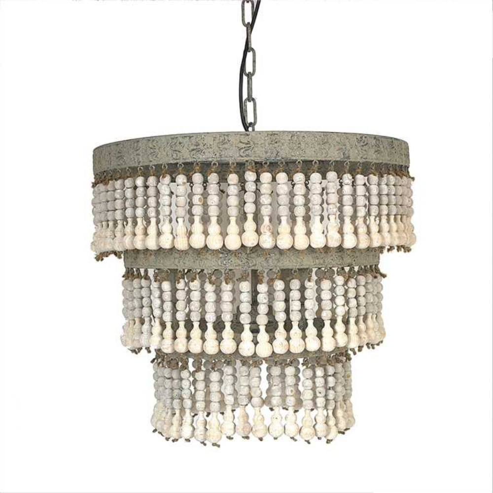 Wood beaded chandelier ceiling light fixture with vintage style wood beaded chandelier ceiling light fixture with vintage style cottage chic bohemian arubaitofo Choice Image