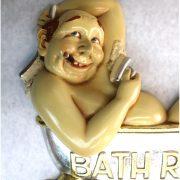 Bathroom Door Signs Man & Woman in Claw foot Bath Tubs w Cigar Scrub Brush Fun