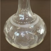 Early Antique Hand Made Etched Blown Glass Decanter with Cut Crystal Glass Stopper