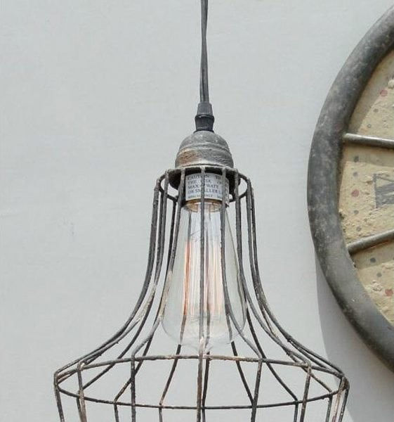 Old Cage Wire Skirt Antique Replica Factory Industrial Pendant Light Chandelier