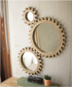 Wood Cog Gear Set of 3 Mirrors From Old Factory Foundry Vintage Era