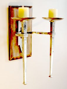 Gothic Rustic Medieval Wood and Metal Pillar Candle Wall Sconce Big Hand Made