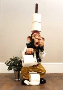 Monkey Butler Toilet Paper Holder Nose 3′ Statue Funny Ape Plunger on Head