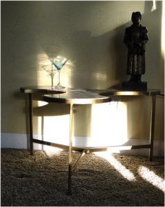 Tripod Three Leave Puzzle Danish Modern End Side Table w BLACK Marble Top