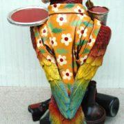 Parrot Butler Bird Statue with Silver Tray 2′ Waiter Restaurant or Kitchen Decor