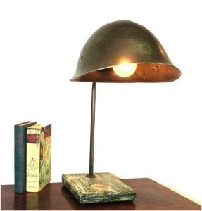 Old Army War Military Helmet Table Lamp Classic Style Antique Replica