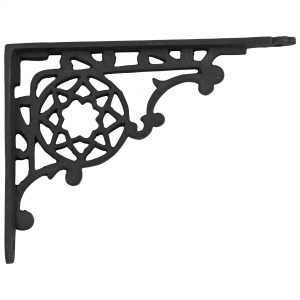 Victorian Cast Iron Shelf Bracket antique vintage REPRODUCTION black paint 9″