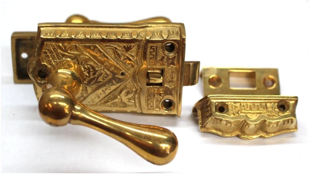 Vintage Brass Eastlake Victorian SCREEN DOOR Latch Lock Restoration Hardware - Vintage Brass Eastlake Victorian SCREEN DOOR Latch Lock Restoration