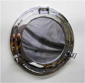 BIG 17″ Silver Porthole Mirror Over Solid Bass High Quality Nickel Chrome Finish