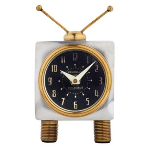 Television TV Table Clock with Rabbit Ears Antenna Retro Fun