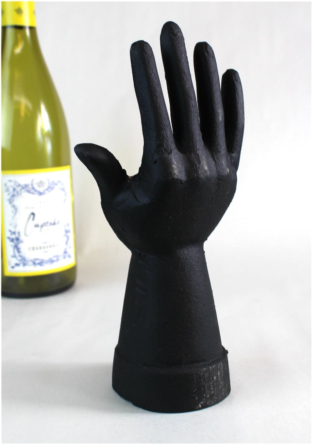 Cast Iron Ring Jewelry Holder In Shape Of A Hand Painted Black Spray
