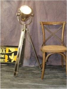 Movie Spotlight Floor Lamp Chrome & Adjust Height Legs Quality Light Fixture