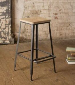 Metal Bar Stool with Iron Base and Wooden Seat Hand Made