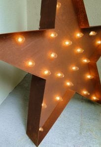 Lighted Old Vintage Style Tin Metal STAR SIGN Iron Building, Store Shop Outdoor