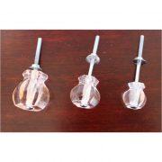1″ PINK Glass Cabinet Knobs Pulls Vintage Dresser Drawer Hardware 25 pcs