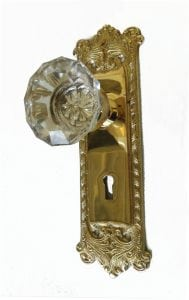 Victorian Reproduction Door Hardware Passage Set with Latch Art Deco