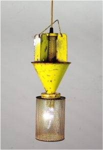 Old Fly Catcher Pendant Light Rusted Repurposed Yellow & Green