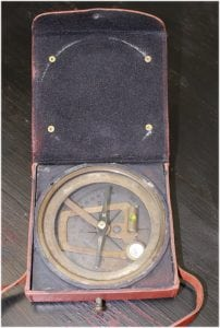 East India Trade Route Leather Brass Compass w Antique Faux Finish Brunton London