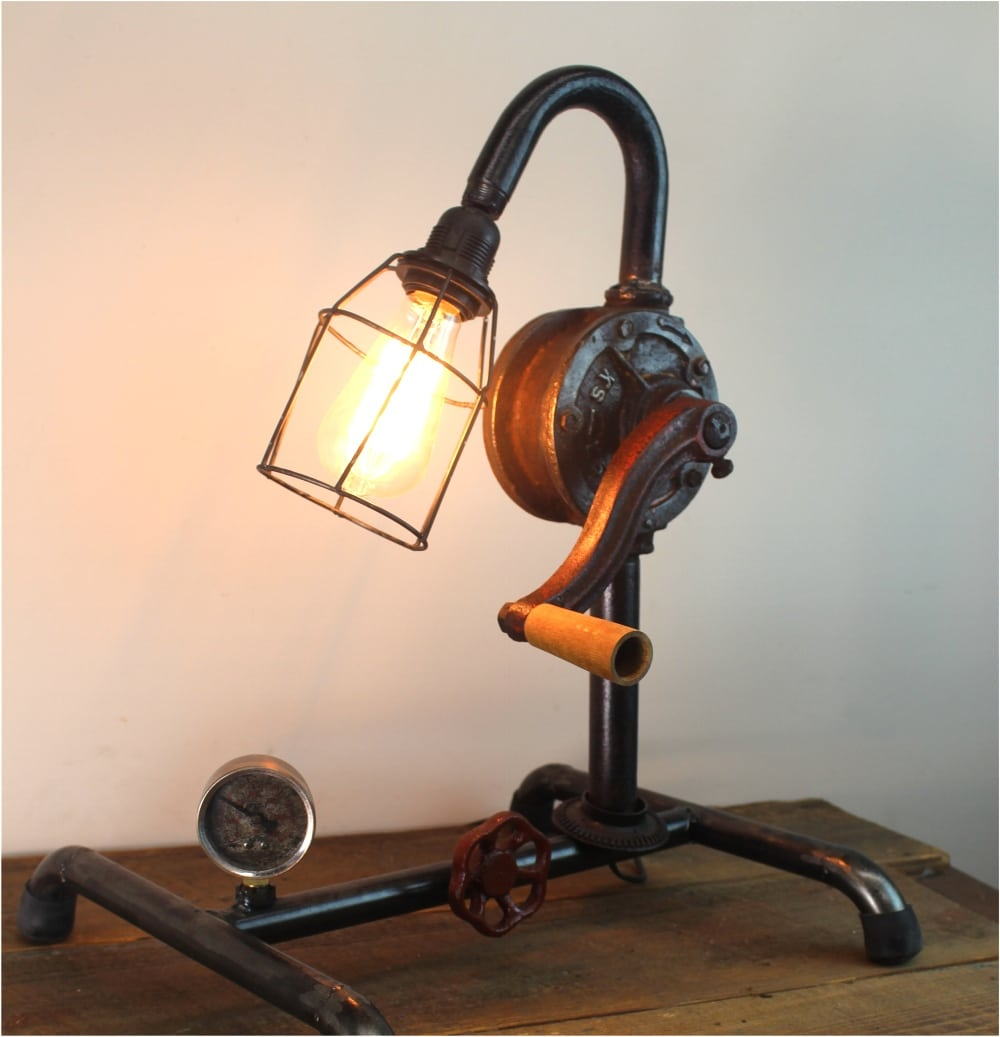 Steampunk Industrial Factory Style Crank Table Lamp W